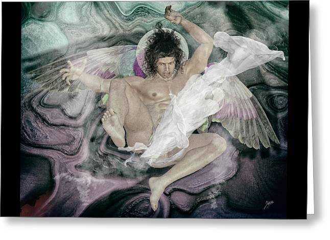 Angel Wings Mixed Media Greeting Cards - Fallen Angel  Greeting Card by Joaquin Abella