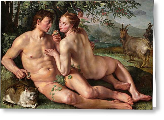 Hendrik Greeting Cards - The Fall of Man Greeting Card by Hendrik Goltzius