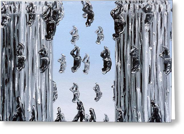 Wtc 11 Paintings Greeting Cards - The Fall Of Man Greeting Card by Ryan Demaree