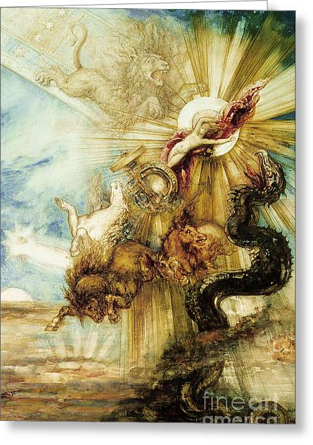 Cabinet Greeting Cards - The Fall of Phaethon Greeting Card by Gustave Moreau
