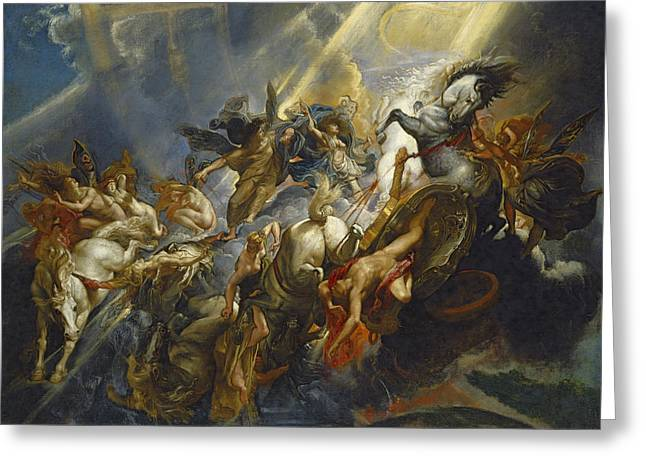 Chariot Greeting Cards - The Fall of Phaeton Greeting Card by  Peter Paul Rubens
