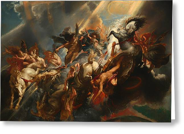Fabled Greeting Cards - The Fall of Phaeton Greeting Card by Peter Rubens