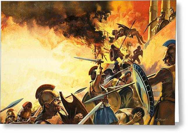 Troy Greeting Cards - The Fall Of Troy Greeting Card by Andrew Howat