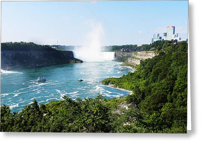 Blue Green Wave Greeting Cards - The Falls Greeting Card by Art By Demarti