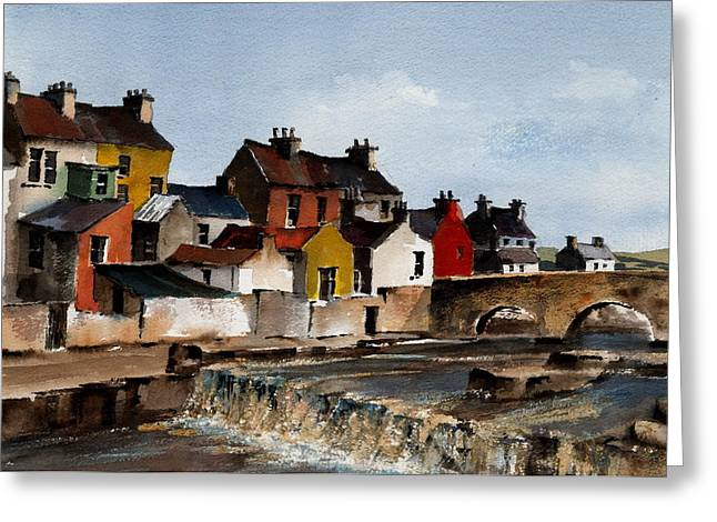Ennistymon Greeting Card featuring the painting The Falls At Ennistymom Clare by Val Byrne