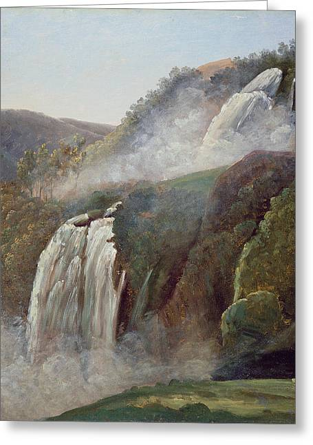 Italian Landscapes Drawings Greeting Cards - The Falls At Terni Greeting Card by George Augustus Wallis