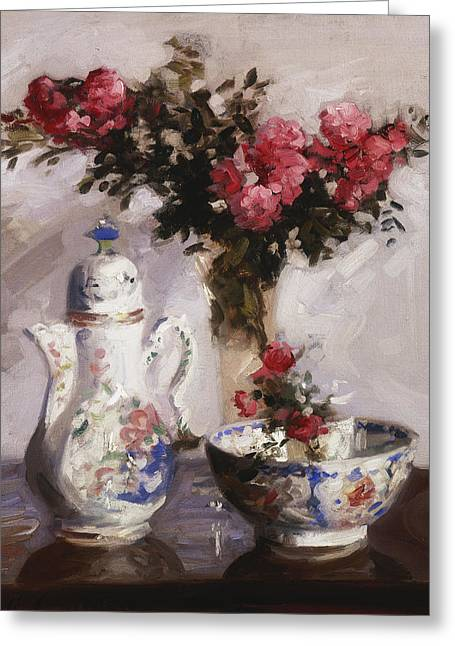 Indoor Still Life Paintings Greeting Cards - The Famille Rose Coffee Pot Greeting Card by Francis Campbell Boileau Cadell
