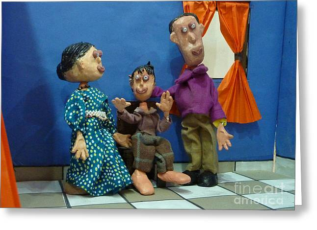 Acrylic Polymer Clay Greeting Cards - The Family Greeting Card by Artist Nandika  Dutt
