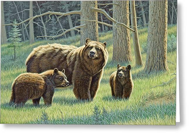 The Family - Black Bears Greeting Card by Paul Krapf