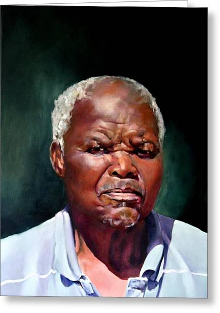 Character Portraits Greeting Cards - The Family Head Petrus Greeting Card by Jolante Hesse