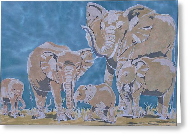 Family Tapestries - Textiles Greeting Cards - The Family Greeting Card by Kate Ford