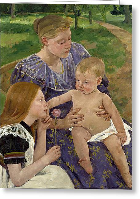 Cassatt Greeting Cards - The Family Greeting Card by Celestial Images