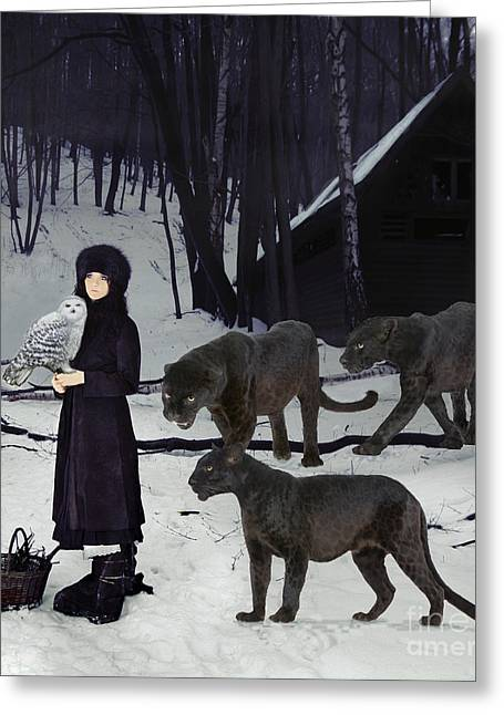 Snowy Evening Greeting Cards - The Family Greeting Card by Maureen Tillman