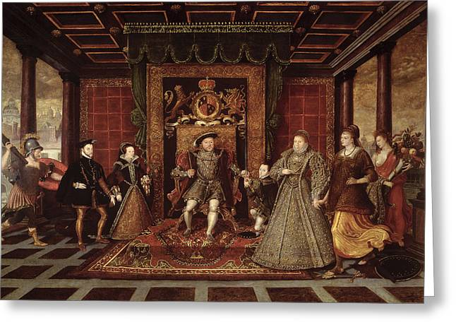 1491-1547 Greeting Cards - The Family Of Henry Viii An Allegory Of The Tudor Succession, C.1570-75 Panel Greeting Card by Lucas de Heere