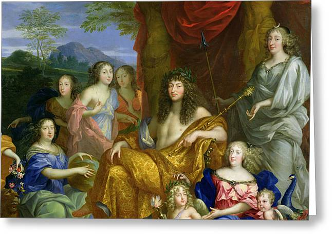 Juno Greeting Cards - The Family Of Louis Xiv 1638-1715 1670 Oil On Canvas Detail Of 60094 Greeting Card by Jean Nocret