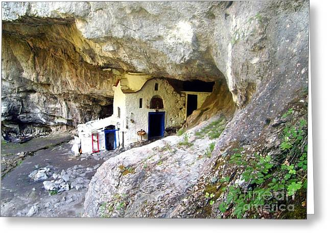 Medieval Temple Greeting Cards - The famous cave church Greeting Card by Nina Ficur Feenan
