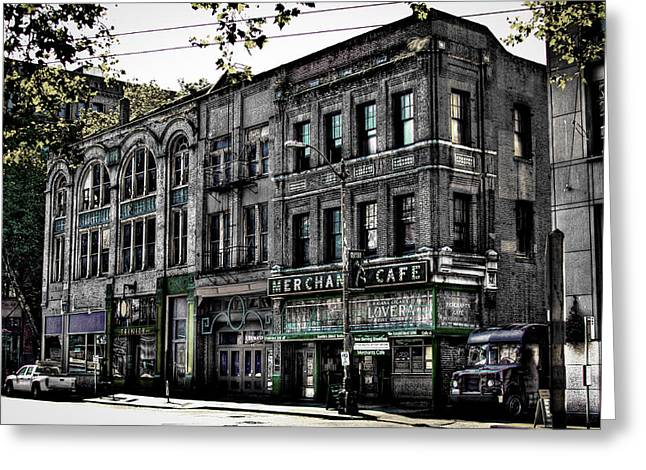 Seattle Landmarks Greeting Cards - The Famous Merchant Cafe - Seattle Washington Greeting Card by David Patterson