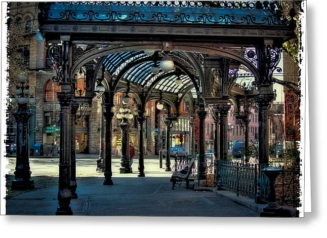 Seattle Landmark Greeting Cards - The Famous Pergola in Pioneer Square Greeting Card by David Patterson
