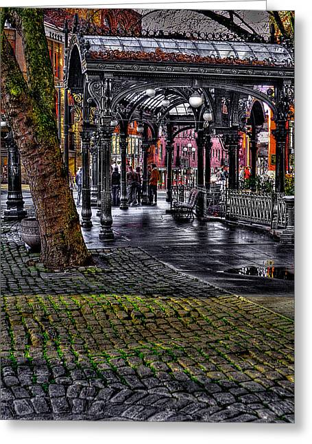 Pioneer Square Seattle Greeting Cards - The Famous Pergola in Pioneer Square - Seattle Washington Greeting Card by David Patterson