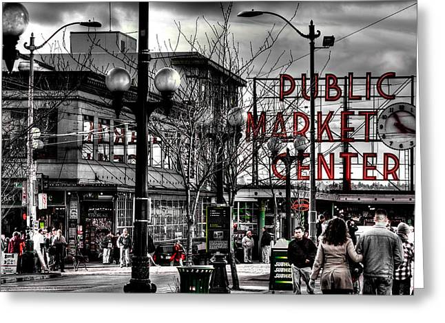 Center City Greeting Cards - The Famous Pike Place Market - Seattle Washington Greeting Card by David Patterson