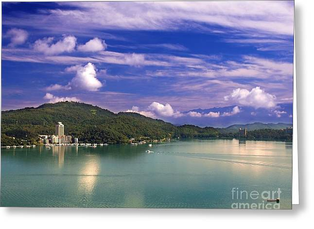 Sun Peaks Resort Greeting Cards - The Famous Sun Moon Lake Greeting Card by Yali Shi
