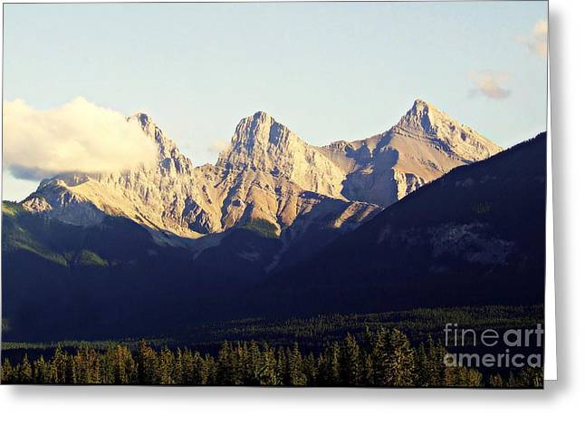 Snowstorm Greeting Cards - The Three Sisters Mountains near Canmore Alberta Canada Greeting Card by Reid Callaway