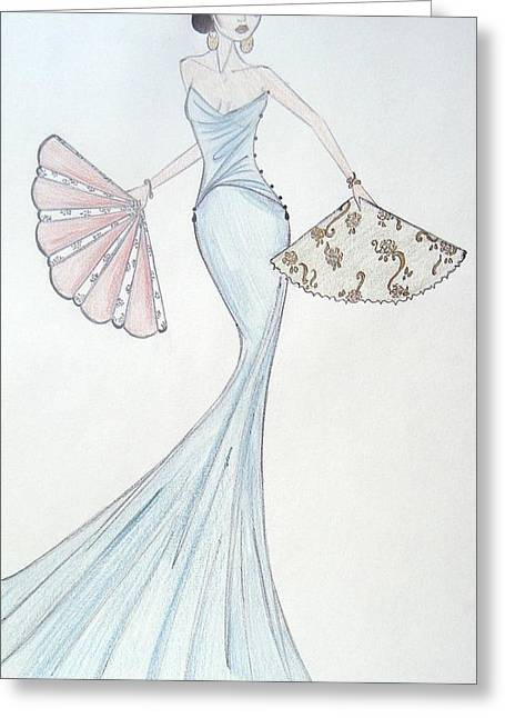 Evening Dress Pastels Greeting Cards - The Fan Bearer Greeting Card by Christine Corretti