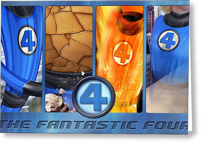 Invisible Greeting Cards - The Fantastic Four Greeting Card by Edward Draganski