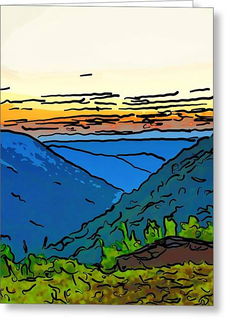 Babcock Greeting Cards - The Far Hills line art Greeting Card by Steve Harrington