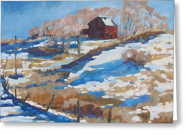 Weather Greeting Cards - The Farm across the Road Greeting Card by Phil Chadwick