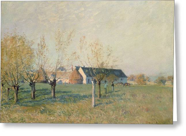 Ferme Greeting Cards - The Farm Greeting Card by Alfred Sisley
