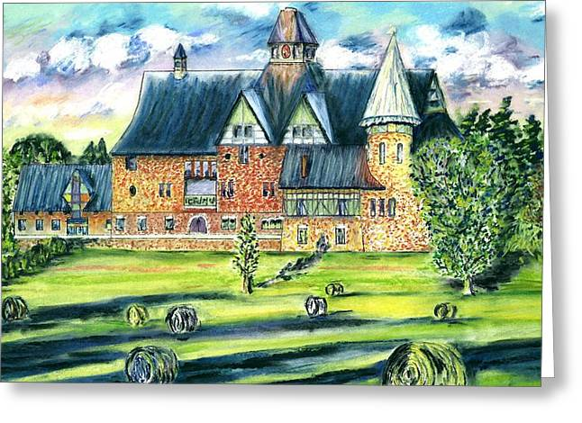 Bale Pastels Greeting Cards - The Farm Barn Greeting Card by Michelle LeBoeuf