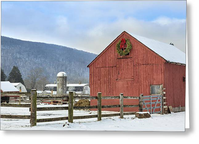 Winter Scenes Rural Scenes Greeting Cards - The Farm Greeting Card by Bill  Wakeley