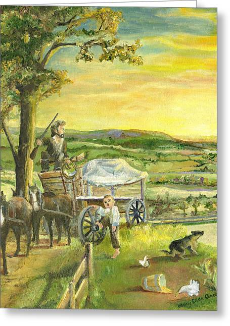 Wooden Wagons Paintings Greeting Cards - The Farm Boy and the Roads That Connect Us Greeting Card by Mary Ellen Anderson