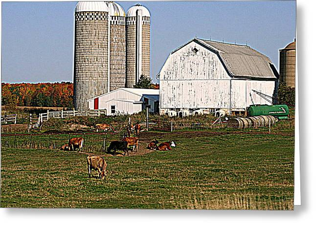Outbuildings Digital Art Greeting Cards - The Farm In Autumn Greeting Card by Kay Novy