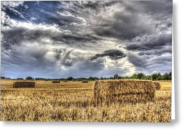 Making Hay Greeting Cards - The Farm in the summer Greeting Card by David Pyatt