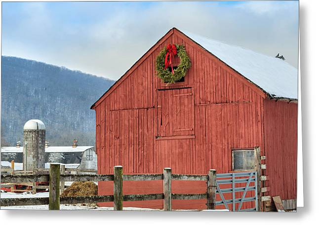 Rural Snow Scenes Photographs Greeting Cards - The Farm Square Greeting Card by Bill  Wakeley