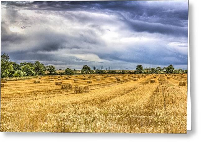 Making Hay Greeting Cards - The Farm Vista Greeting Card by David Pyatt