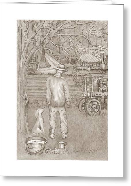 Country Dirt Roads Drawings Greeting Cards - The Farmer Greeting Card by David Gallagher