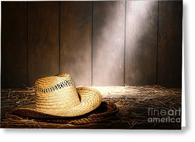 Straw Greeting Cards - The Farmer Hat Greeting Card by Olivier Le Queinec