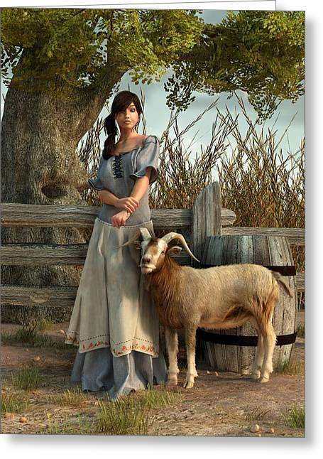 Herder Greeting Cards - The Farmers Daughter Greeting Card by Daniel Eskridge
