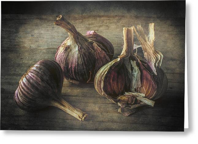 istic Photographs Greeting Cards - The Farmers Garlic Greeting Card by Constance Fein Harding