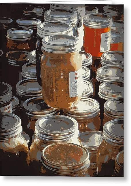 Canned Fruit Greeting Cards - The Farmers Market Greeting Card by Karyn Robinson