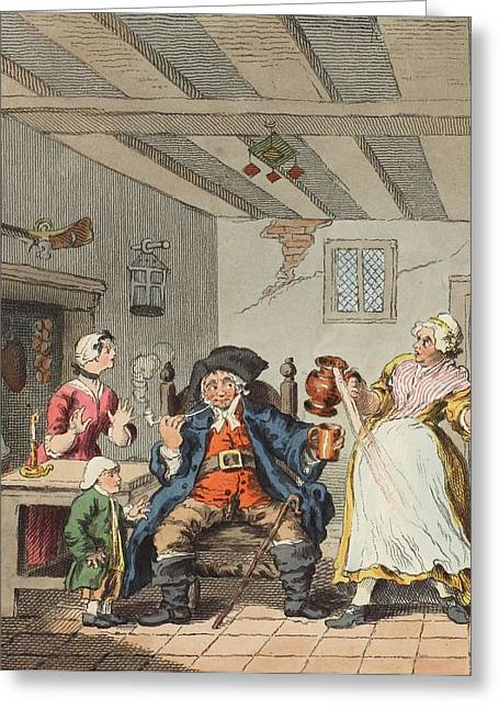 Farmer Drawings Greeting Cards - The Farmers Return, Illustration Greeting Card by William Hogarth