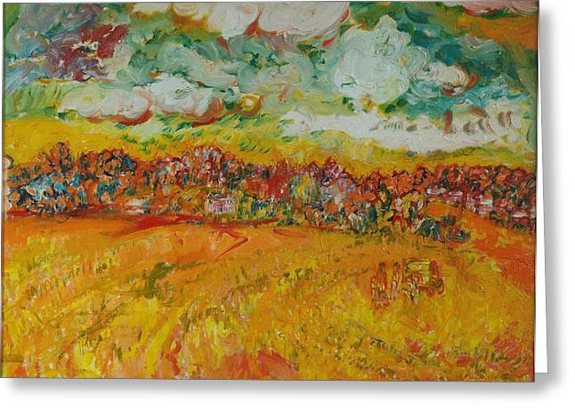 Rural Greeting Cards - The Farmland Oil On Canvas Greeting Card by Brenda Brin Booker
