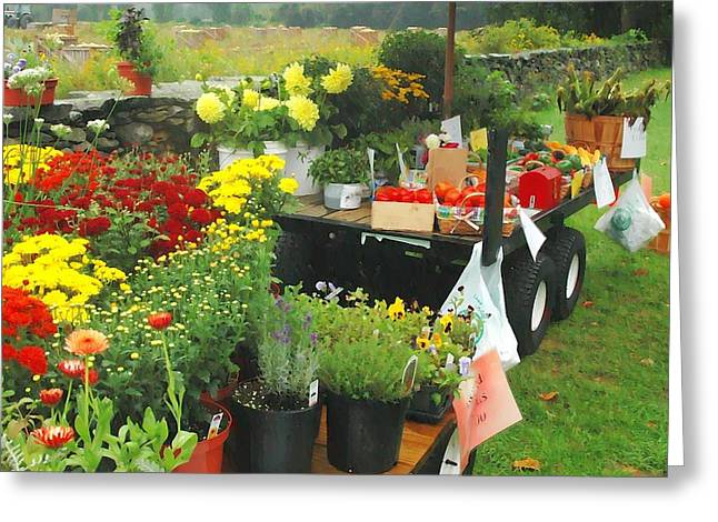 Farmstand Photographs Greeting Cards - The Farmstand Greeting Card by Elizabeth Lima