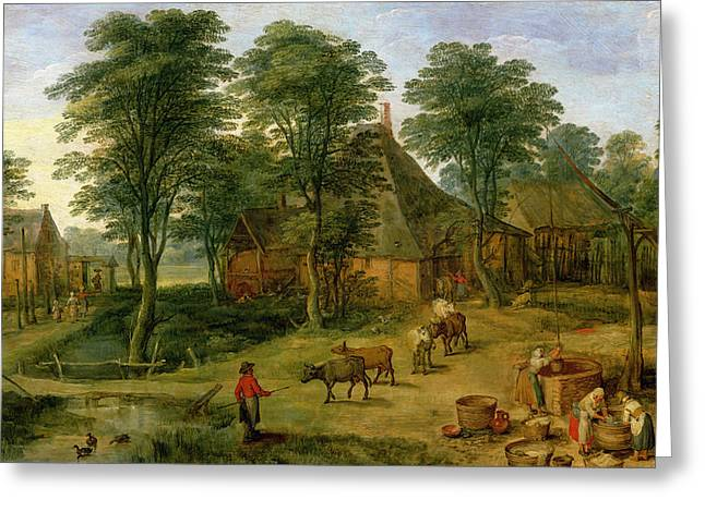 Washing Clothes Greeting Cards - The Farmyard Greeting Card by Jan the Younger Brueghel