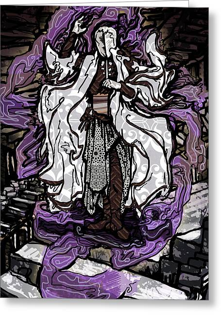 Purple Robe Greeting Cards - The Farseer Greeting Card by A Ka