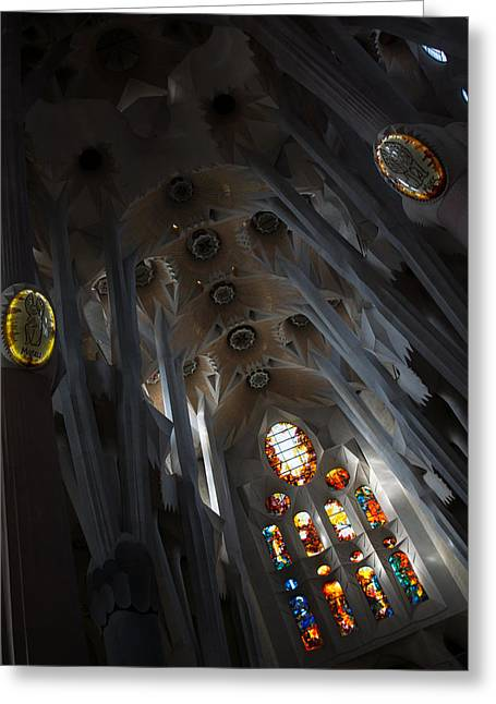 Abstract Forms Greeting Cards - The Fascinating Interior of Sagrada Familia - Antoni Gaudis Masterpiece Greeting Card by Georgia Mizuleva