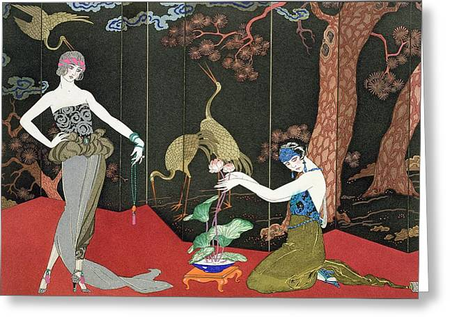 Short Hair Greeting Cards - The Fashion for Lacquer Greeting Card by Georges Barbier